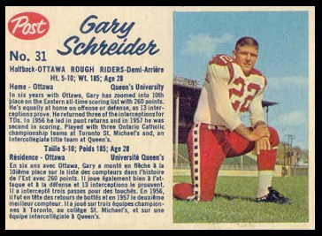 Gary Schreider 1962 Post CFL football card