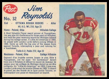 Jim Reynolds 1962 Post CFL football card