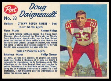Doug Daigneault 1962 Post CFL football card