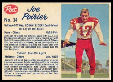 Joe Poirier 1962 Post CFL football card