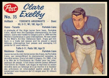 Clare Exelby 1962 Post CFL football card