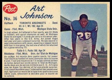Art Johnson 1962 Post CFL football card