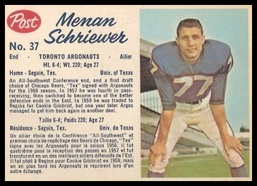 Menan Schriewer 1962 Post CFL football card