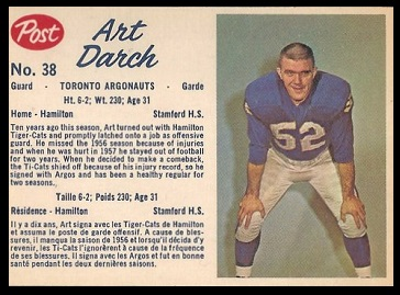 Art Darch 1962 Post CFL football card
