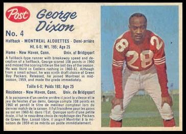 George Dixon 1962 Post CFL football card
