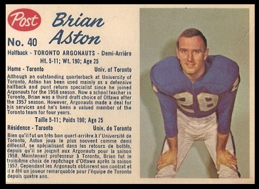 Brian Aston 1962 Post CFL football card
