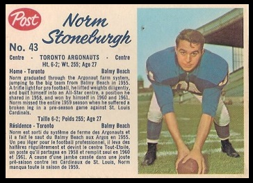 Norm Stoneburgh 1962 Post CFL football card