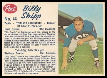 Billy Shipp 1962 Post CFL football card