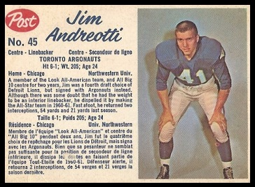 Jim Andreotti 1962 Post CFL football card
