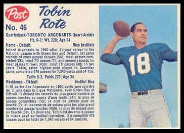Tobin Rote 1962 Post CFL football card