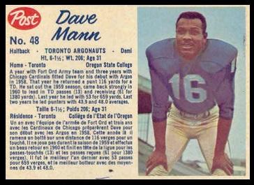 Dave Mann 1962 Post CFL football card