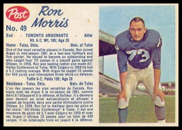 Ron Morris 1962 Post CFL football card