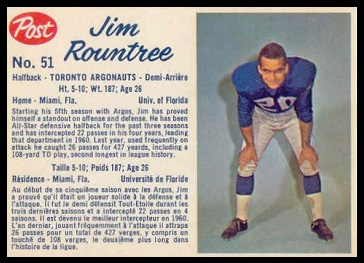 Jim Rountree 1962 Post CFL football card