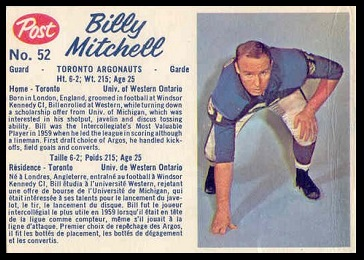 Bill Mitchell 1962 Post CFL football card