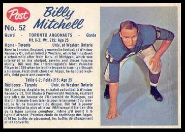 Bill Mitchell 1962 Post CFL football card