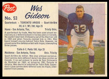 Wes Gideon 1962 Post CFL football card