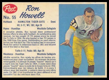 Ron Howell 1962 Post CFL football card