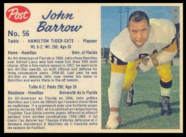 John Barrow 1962 Post CFL football card