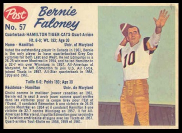 Bernie Faloney 1962 Post CFL football card