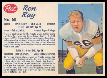Ron Ray 1962 Post CFL football card