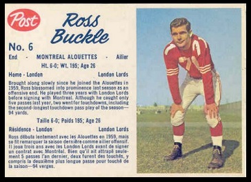 Ross Buckle 1962 Post CFL football card