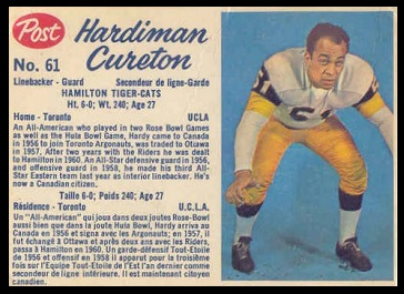 Hardiman Cureton 1962 Post CFL football card