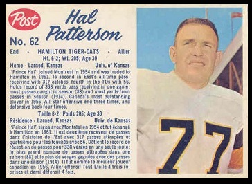 Hal Patterson 1962 Post CFL football card