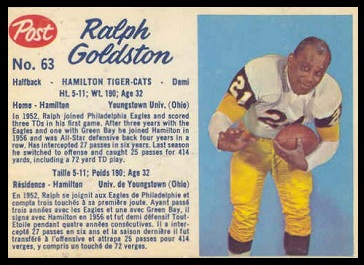 Ralph Goldston 1962 Post CFL football card