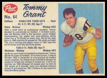 Tommy Grant 1962 Post CFL football card