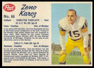 Zeno Karcz 1962 Post CFL football card