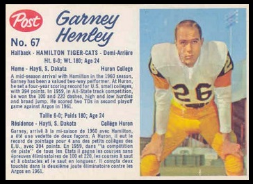 Garney Henley 1962 Post CFL football card