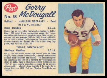Gerry McDougall 1962 Post CFL football card