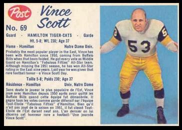 Vince Scott 1962 Post CFL football card