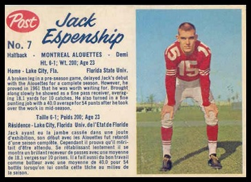 Jack Espenship 1962 Post CFL football card