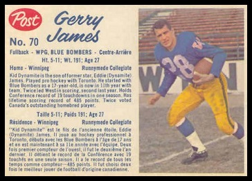 Gerry James 1962 Post CFL football card