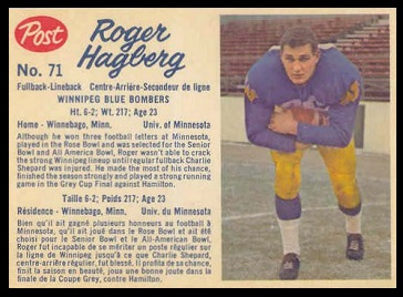 Roger Hagberg 1962 Post CFL football card