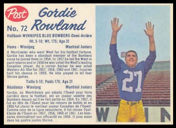 Gord Rowland 1962 Post CFL football card