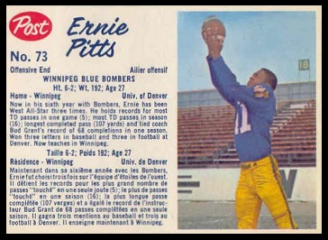 Ernie Pitts 1962 Post CFL football card