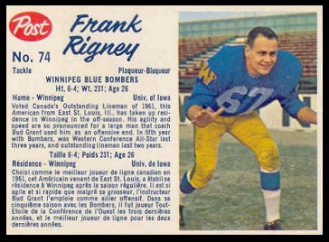 Frank Rigney 1962 Post CFL football card