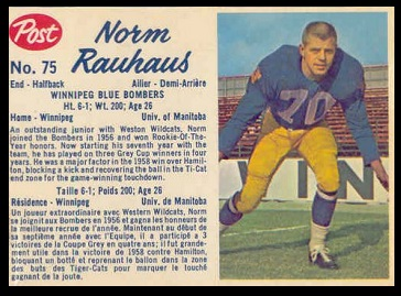 Norm Rauhaus 1962 Post CFL football card