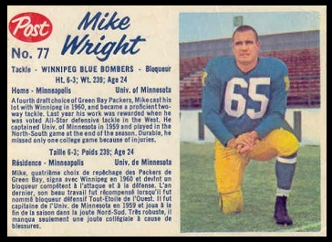 Mike Wright 1962 Post CFL football card