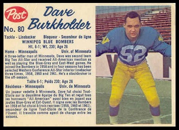 Dave Burkholder 1962 Post CFL football card