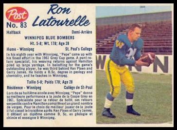 Ron Latourelle 1962 Post CFL football card