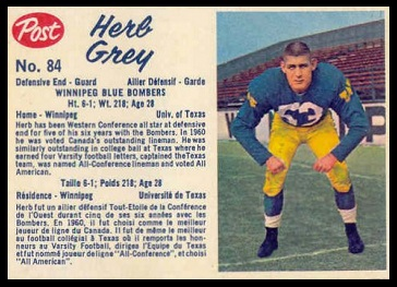 Herb Gray 1962 Post CFL football card