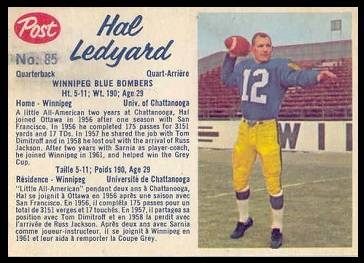 Hal Ledyard 1962 Post CFL football card