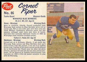 Cornel Piper 1962 Post CFL football card