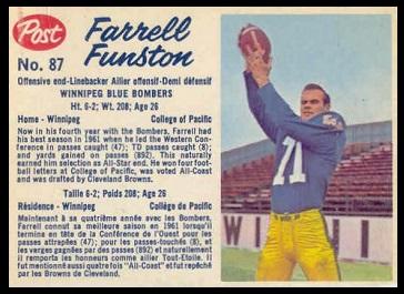 Farrell Funston 1962 Post CFL football card