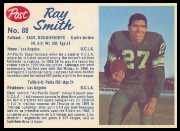 Ray Smith 1962 Post CFL football card
