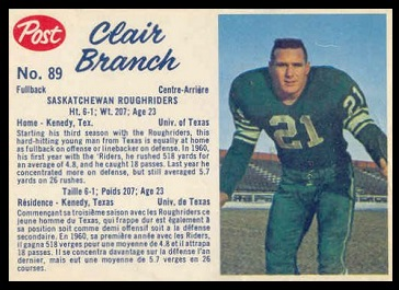 Clair Branch 1962 Post CFL football card