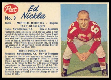 Ed Nickla 1962 Post CFL football card